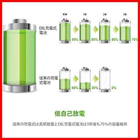 【ラスト1点】単4形充電池 充電式ニッケル水素電池 高容量1100mAh EBL NA9930 8本入り 約1200回使用可能 ケース2個付き 単四充電池_画像3