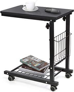 ブラック SIMFLAG サイドテーブル ソファ ベッドサイドテーブル ナイトテーブル コの字型デザイン 昇降式 キャスター付き_画像1