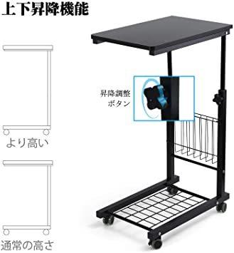 ブラック SIMFLAG サイドテーブル ソファ ベッドサイドテーブル ナイトテーブル コの字型デザイン 昇降式 キャスター付き_画像5