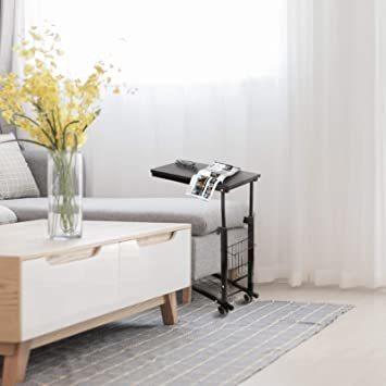ブラック SIMFLAG サイドテーブル ソファ ベッドサイドテーブル ナイトテーブル コの字型デザイン 昇降式 キャスター付き_画像4