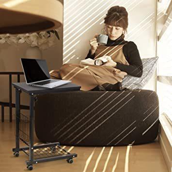 ブラック SIMFLAG サイドテーブル ソファ ベッドサイドテーブル ナイトテーブル コの字型デザイン 昇降式 キャスター付き_画像3