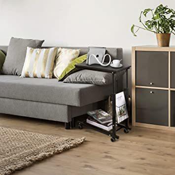 ブラック SIMFLAG サイドテーブル ソファ ベッドサイドテーブル ナイトテーブル コの字型デザイン 昇降式 キャスター付き_画像8