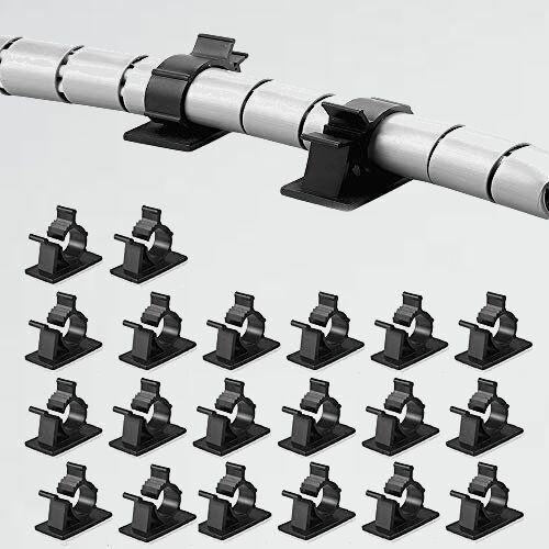 新品 未使用 ケ-ブルクリップ SHULLIN X-14 事務室用 (ブラック) コ-ドクリップ ケ-ブルホルダ- コ-ドフック 20個 4段調節可能具_画像1