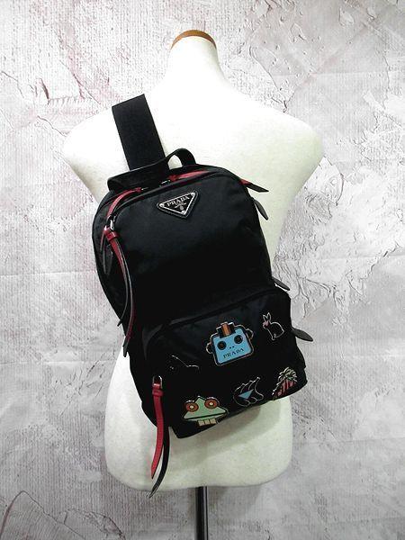 【超美品】◆プラダ PRADA◆ボディバッグ スマルト・ワンショルダー ナイロン×レザー ロゴ プレート メンズ 黒 取説 Gカード 保存袋付き