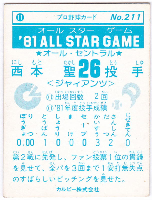カルビー プロ野球チップスカード 1981年 No.211 '81 オールスターゲーム 西本聖(読売ジャイアンツ/巨人)_画像2
