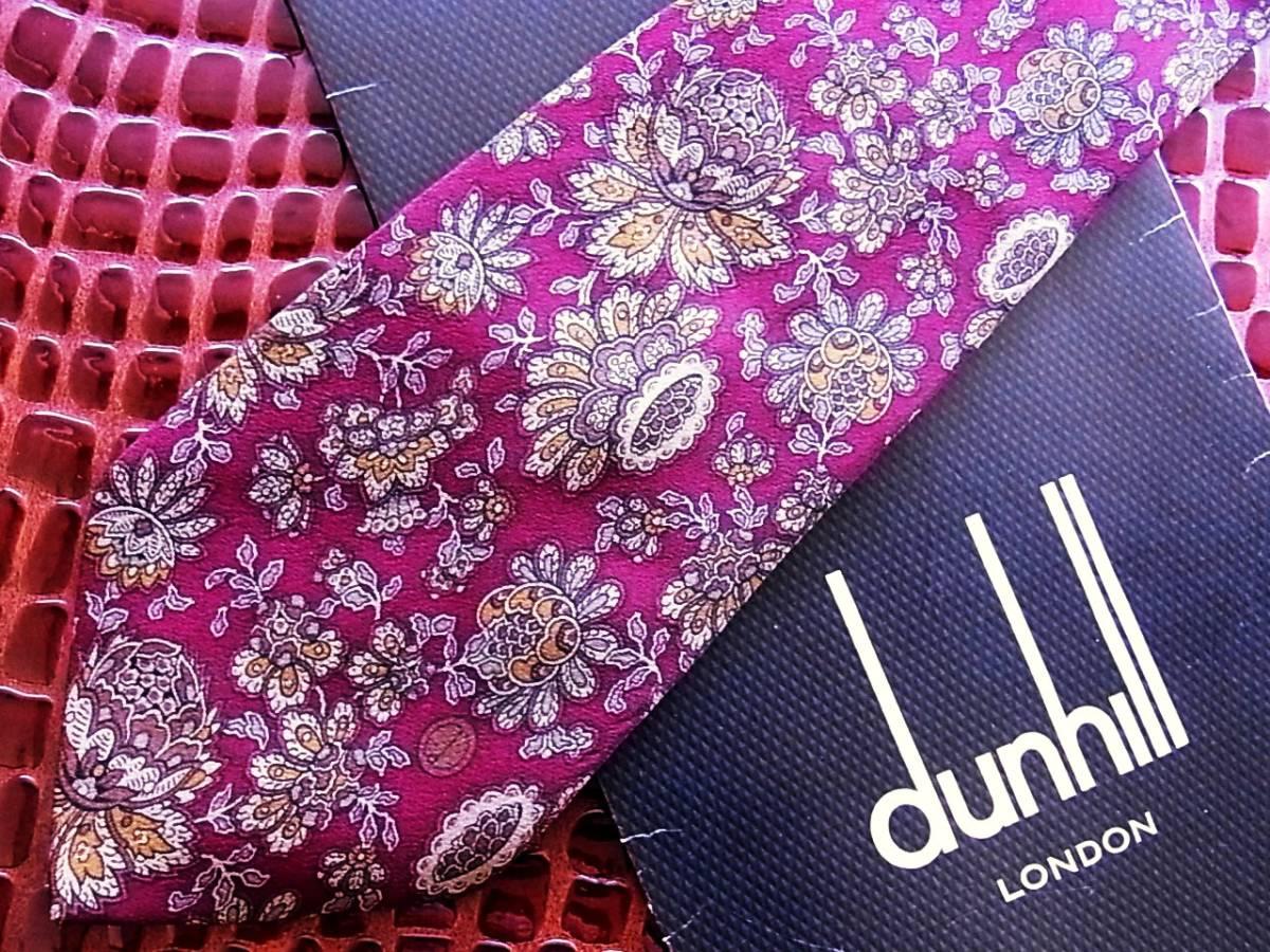 ■E374R●良品●【dunhill】ダンヒル【dロゴ入・花】ネクタイ★_画像1