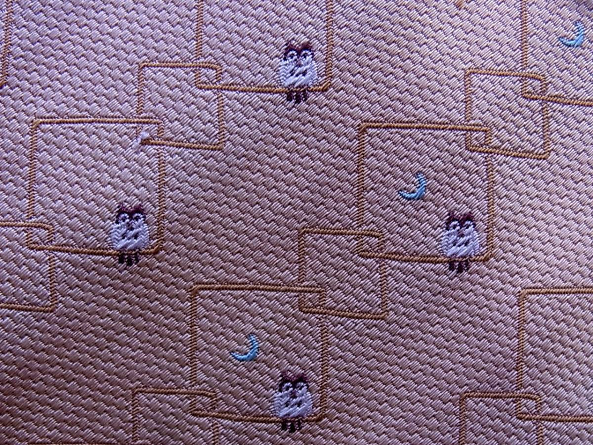 ■E385R●良品●【刺繍・フクロウ梟・月】IVY BROTHERS ネクタイ_画像2