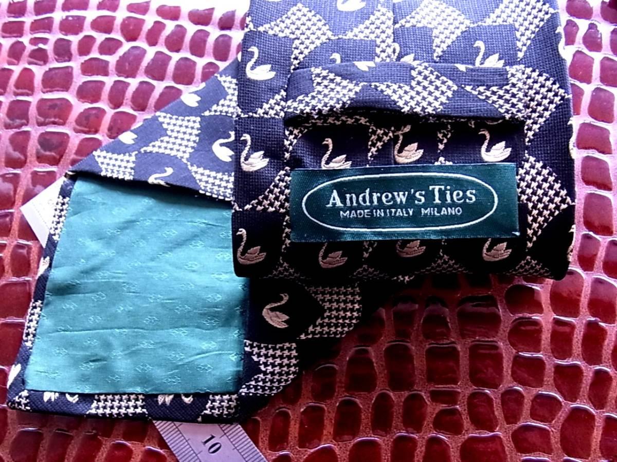 ■E389R●良品●アンドリューズ タイズ「Andrew's Ties」【刺繍・白鳥・鳥】ネクタイ_画像2