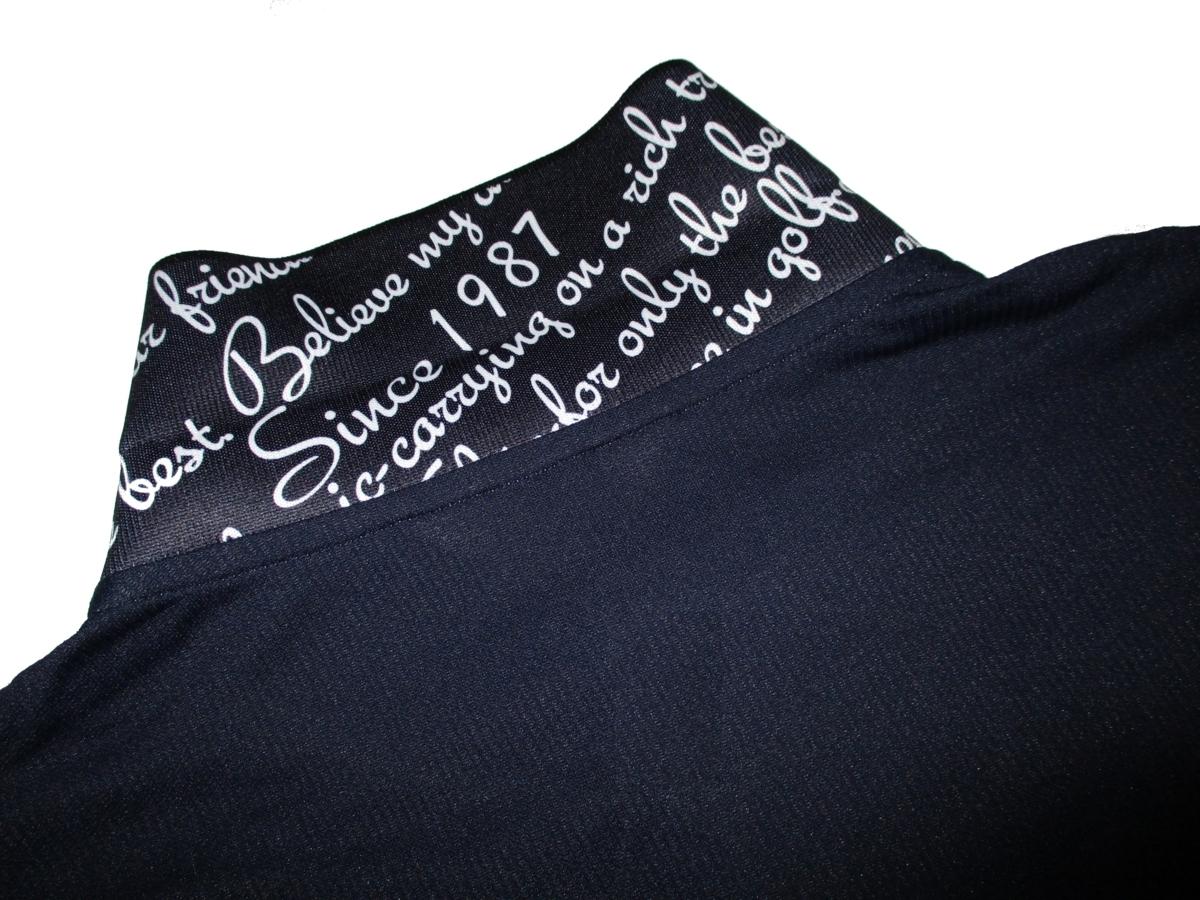 新品ラス1 52 3L 定価¥18,700▼ アダバット adabat ゴルフウェア 日本製 長袖ポロシャツ 長袖シャツ ポロシャツ メンズ 紺 衿裏ロゴ入 2XL_画像6