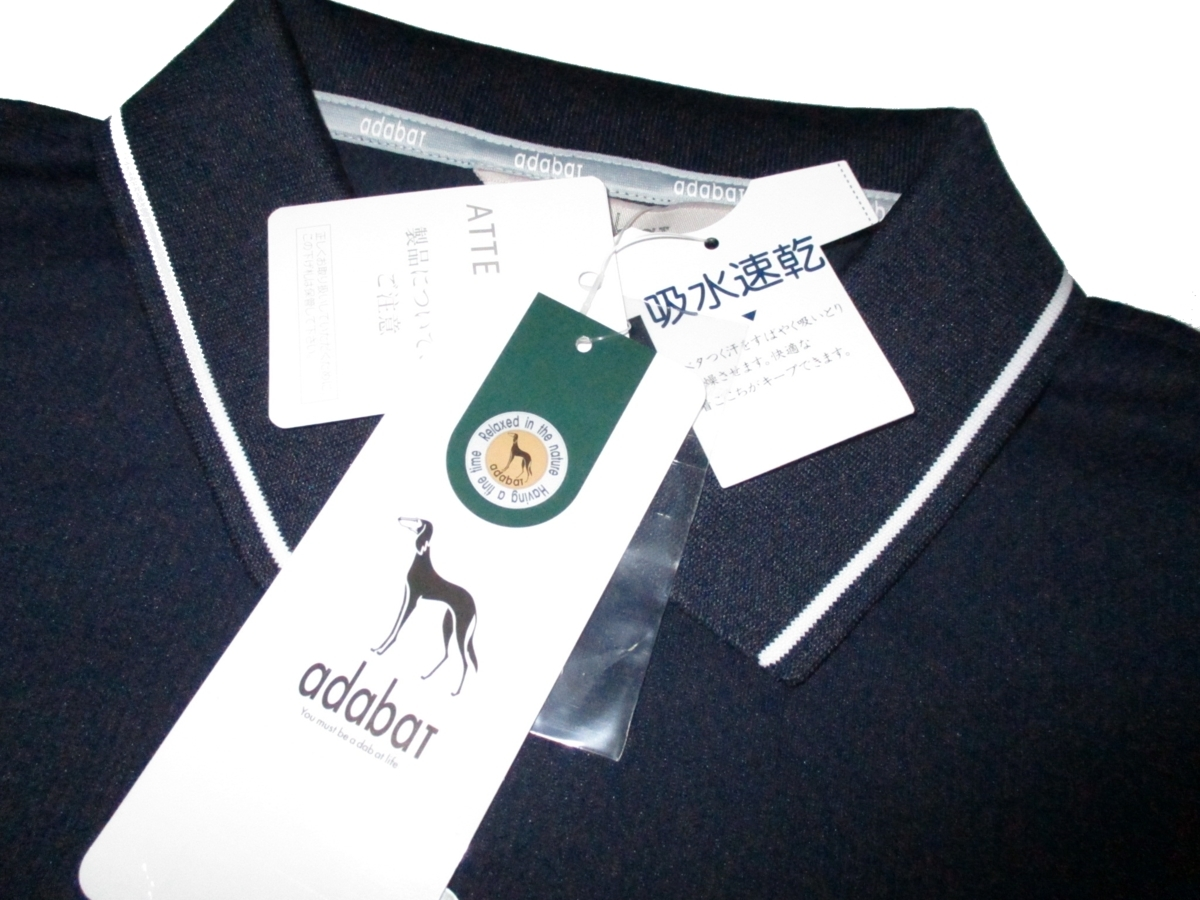 新品ラス1 52 3L 定価¥18,700▼ アダバット adabat ゴルフウェア 日本製 長袖ポロシャツ 長袖シャツ ポロシャツ メンズ 紺 衿裏ロゴ入 2XL_画像5