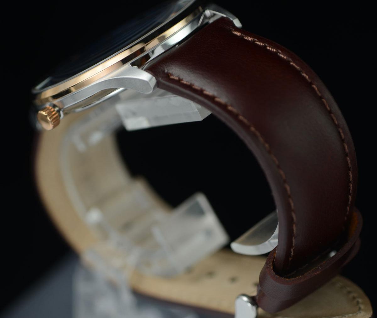 1円開始 逆輸入セイコーPULSARシンプルで飽きの来ないデザイン50m防水 美しいサファイアブルー 腕時計 本革ベルト メンズ 激レア日本未発売_画像7