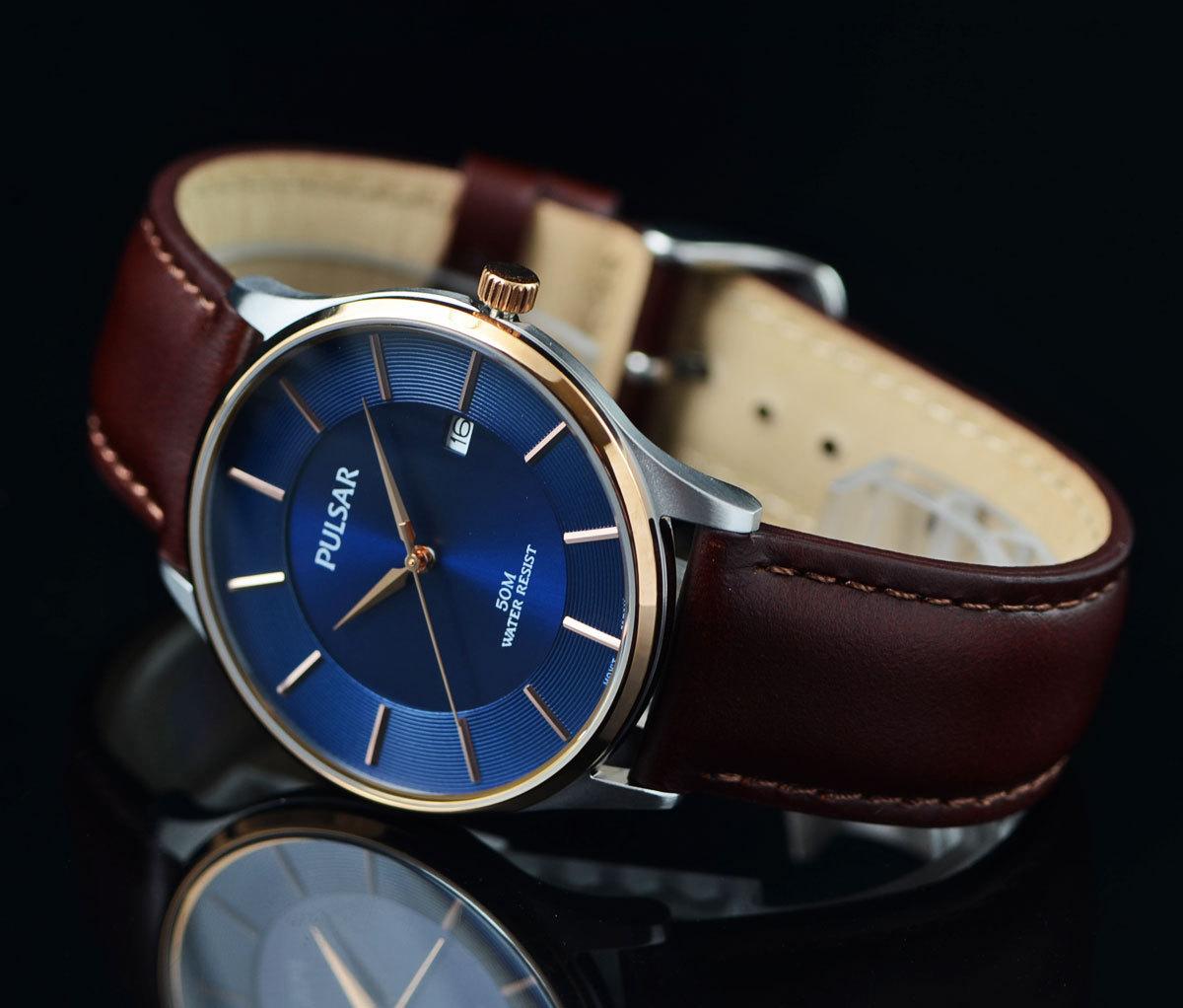 1円開始 逆輸入セイコーPULSARシンプルで飽きの来ないデザイン50m防水 美しいサファイアブルー 腕時計 本革ベルト メンズ 激レア日本未発売_画像3