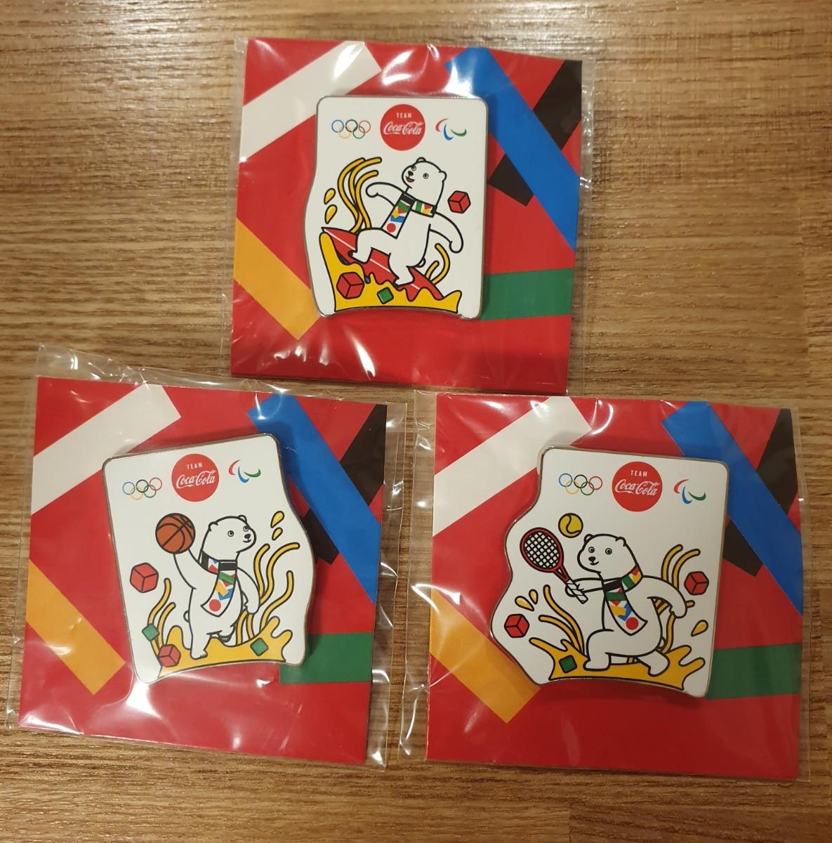 コカ・コーラ 東京オリンピック ピンバッジ 3種セット 未開封 オリジナルピンズ