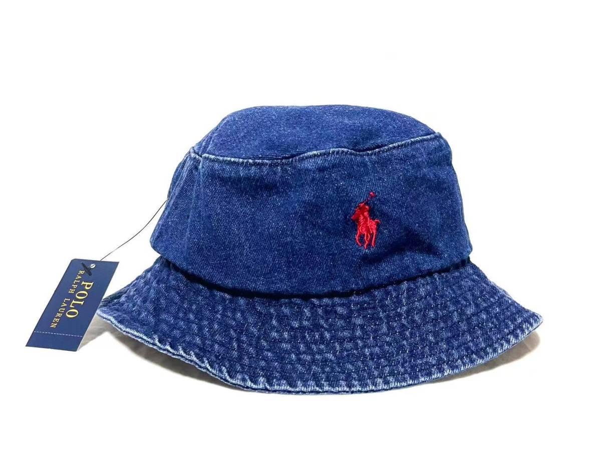 未使用 POLO RALPH LAUREN ポロ ラルフローレン LOGO 刺繍 バケットハット帽子 ポニー メンズ レディース アメカジ R-LH02DNM