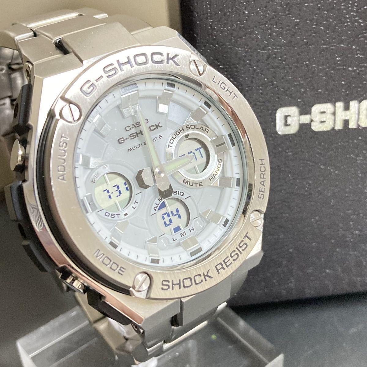 極美品G-SHOCK GST-W110D-7AJF G-STEEL Gスチール タフソーラー 電波受信 電波ソーラー マルチバンド6 メタルベゼル メタルバンド 白 箱付
