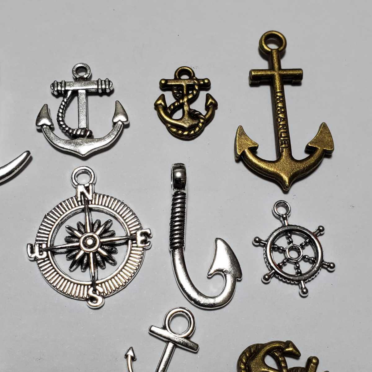 【ハンドメイド素材】海の道具 素材セット#ハンドメイド#金属#メタル#ダリン#舵#イカリ#錨#釣り針#釣り#金#銅#銀#海#サマー#夏