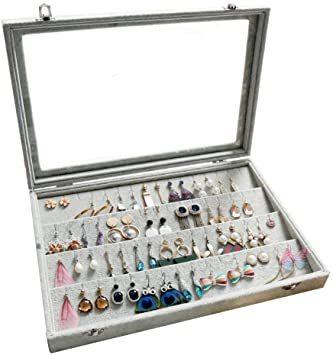 A ジュエリーケース アクセサリーボックス ピアス イヤリングケース 耳飾り収納/ネックレス収納/指輪収納 ケース ベルベット大_画像1
