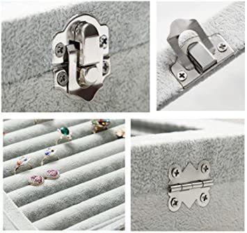 A ジュエリーケース アクセサリーボックス ピアス イヤリングケース 耳飾り収納/ネックレス収納/指輪収納 ケース ベルベット大_画像7