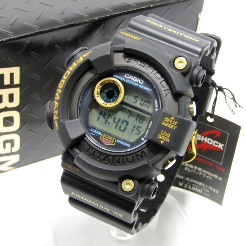 未使用 G-SHOCK Gショック DW-8200BU-9AT フロッグマン 99 ゴールドチタン 復刻 FROGMAN 黒金蛙 マスターオブG メンズ ブラック 28004827