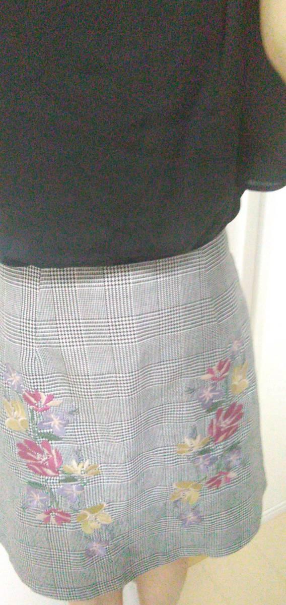 スカート 刺繍 チェック柄