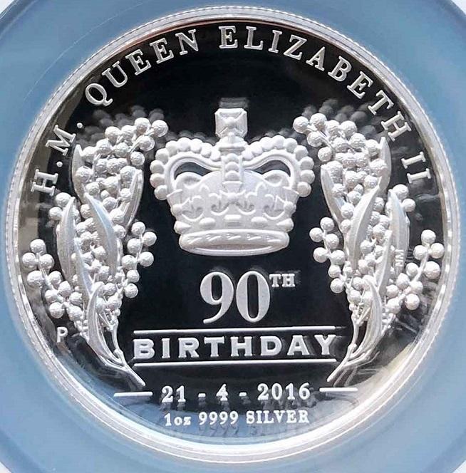 2016年 オーストラリア エリザベス2世 生誕90周年 1オンス ハイレリーフ プルーフ 銀貨 NGC PF70 UC ER 最高鑑定 1oz_画像3