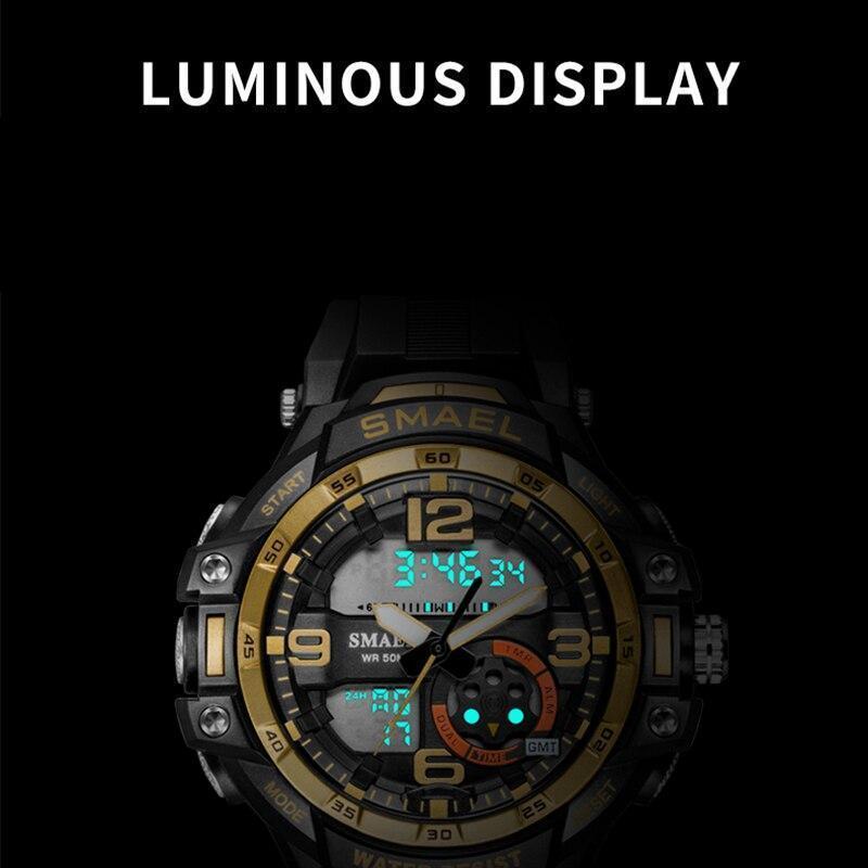 【中古売ります】【最安値に挑戦】Smaelメンズ防水スポーツデジタル腕時計ミリタリー時計アラーム1350Bレロジオmasculinoクォーツ時計_画像1