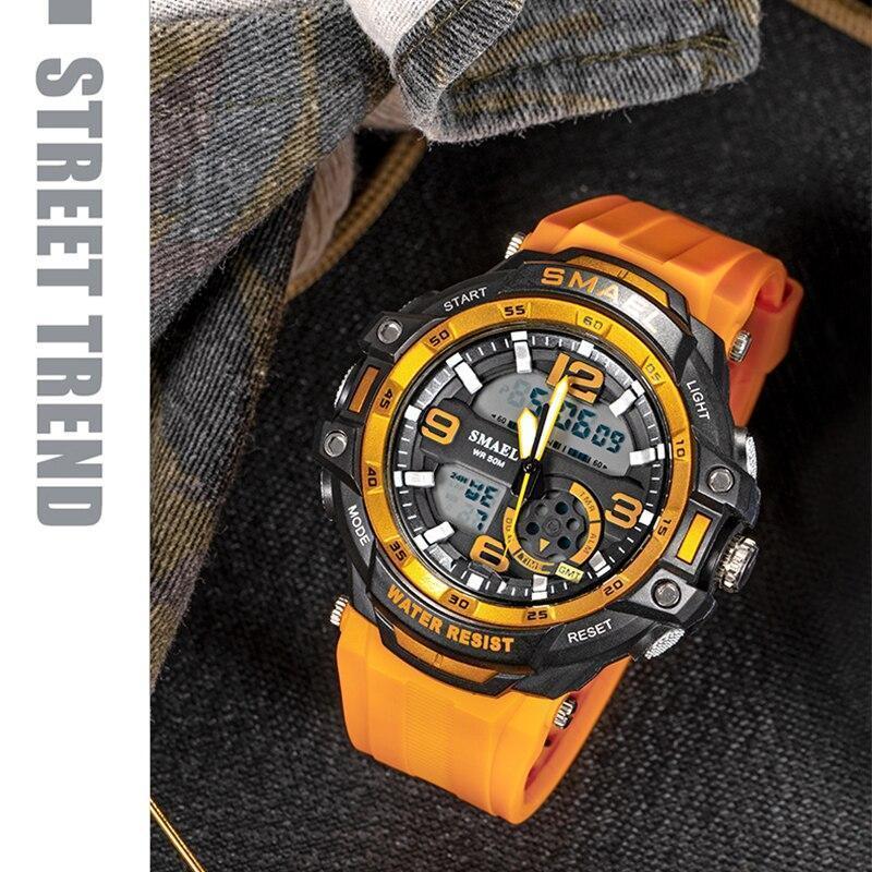 【中古売ります】【最安値に挑戦】Smaelメンズ防水スポーツデジタル腕時計ミリタリー時計アラーム1350Bレロジオmasculinoクォーツ時計_画像5