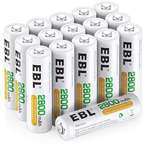 EBL 単3形充電池 充電式ニッケル水素電池 高容量2800mAh 16本入り ケース4個付き 約1200回使用可能 単三充電池_画像1