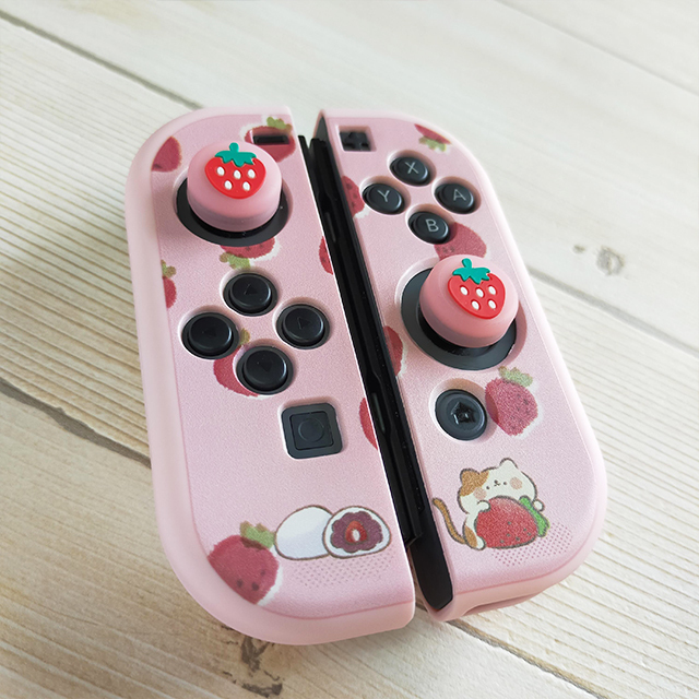 【即日~翌日発送】スイッチ Switch 保護 カバー ピンク ネコ 猫 苺 いちご大福 もちもちねこ かわいい_画像6