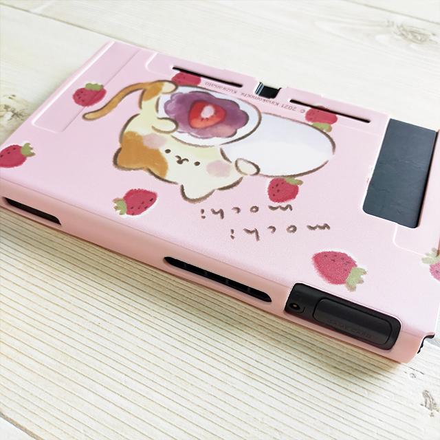 【即日~翌日発送】スイッチ Switch 保護 カバー ピンク ネコ 猫 苺 いちご大福 もちもちねこ かわいい_画像3
