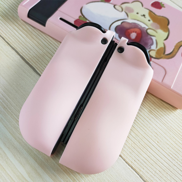 【即日~翌日発送】スイッチ Switch 保護 カバー ピンク ネコ 猫 苺 いちご大福 もちもちねこ かわいい_画像5