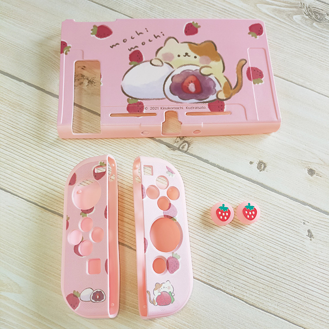 【即日~翌日発送】スイッチ Switch 保護 カバー ピンク ネコ 猫 苺 いちご大福 もちもちねこ かわいい_画像7