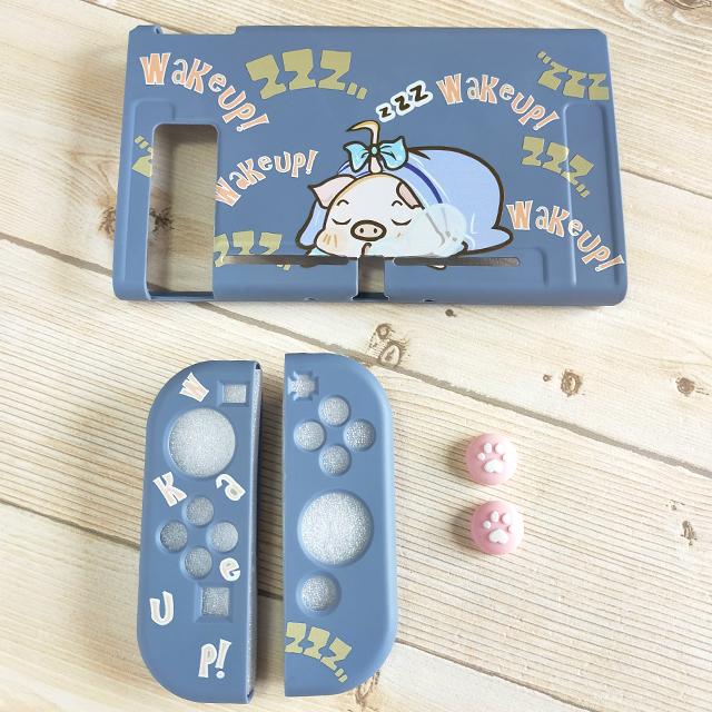 【即日~翌日発送】スイッチ Switch 保護 カバー かわいい グレー ピンク 豚 ぶた ブタ おやすみ_画像4