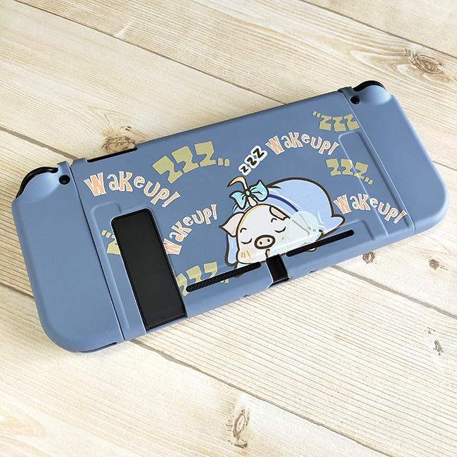 【即日~翌日発送】スイッチ Switch 保護 カバー かわいい グレー ピンク 豚 ぶた ブタ おやすみ_画像3