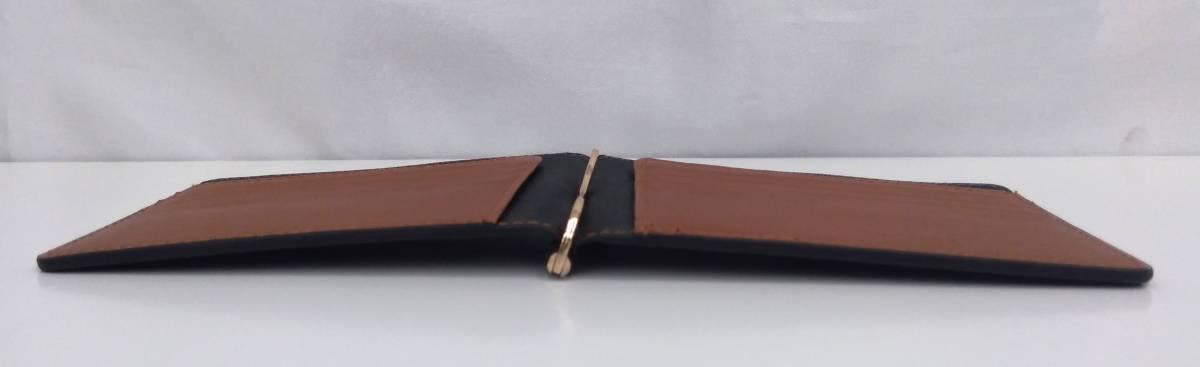DOLGED ドルジッド 薄型 マネークリップ 革札ばさみ カードケース 定期入れ 札入れ 二つ折り財布 メンズウォレット ブラック×ブラウン系_画像10