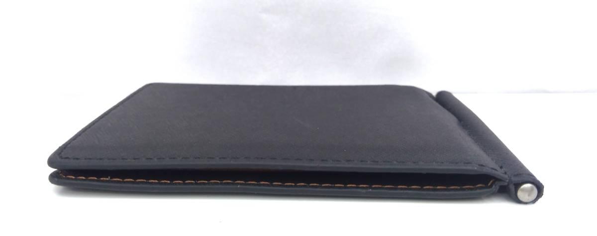DOLGED ドルジッド 薄型 マネークリップ 革札ばさみ カードケース 定期入れ 札入れ 二つ折り財布 メンズウォレット ブラック×ブラウン系_画像4