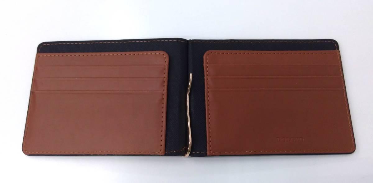 DOLGED ドルジッド 薄型 マネークリップ 革札ばさみ カードケース 定期入れ 札入れ 二つ折り財布 メンズウォレット ブラック×ブラウン系_画像6