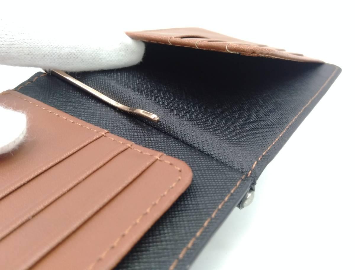 DOLGED ドルジッド 薄型 マネークリップ 革札ばさみ カードケース 定期入れ 札入れ 二つ折り財布 メンズウォレット ブラック×ブラウン系_画像9