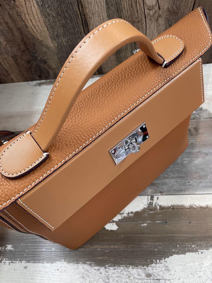 2way ハンドバッグ ショルダーバッグ 本革 レディース 大容量 シンプル 斜め掛け キャメル