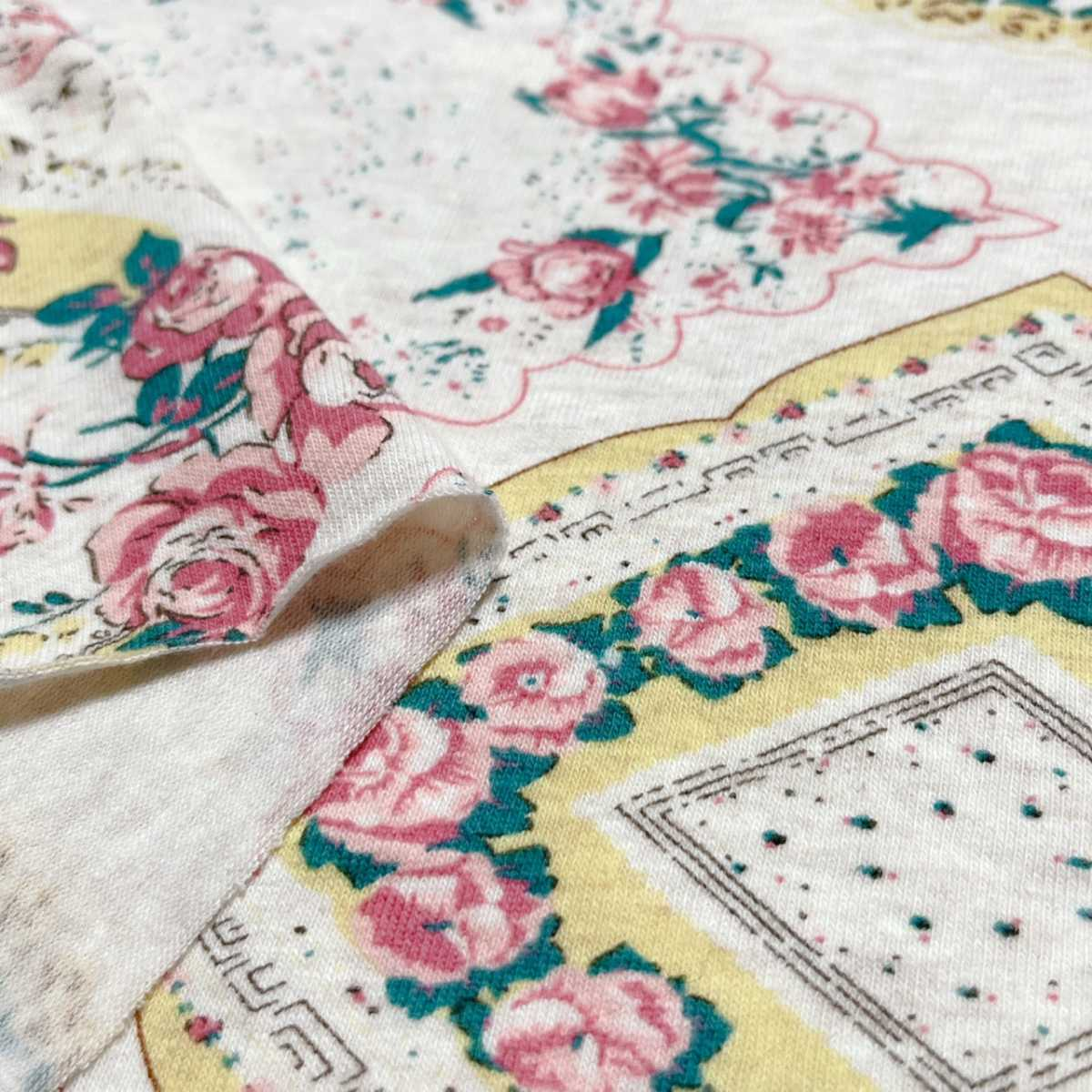 花柄 Tシャツニット 150×57 a3 ニット生地 花 フラワー 布 はぎれ リメイク インテリア