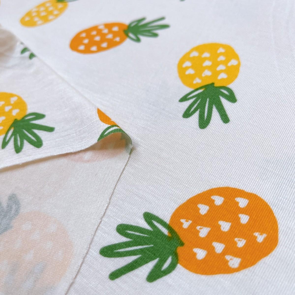 パイナップル 冷感 Tシャツニット 生地 布 ハギレ はぎれ ハンドメイド ニット生地 コットン