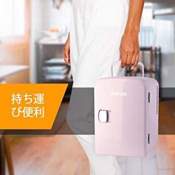 02ピンク AstroAI 冷蔵ノ 小型 ミニ冷蔵庫 小型冷蔵庫 冷温庫 4L 小型でポータブル 化粧品 家庭 車載両用 保温 _画像5