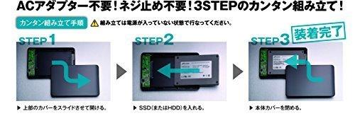 サイズUSB3.0 玄人志向 SSD/HDDケース(ブラック) 2.5型 USB3.0接続 ACアダプター不要/ネジ止め不要/3ス_画像6