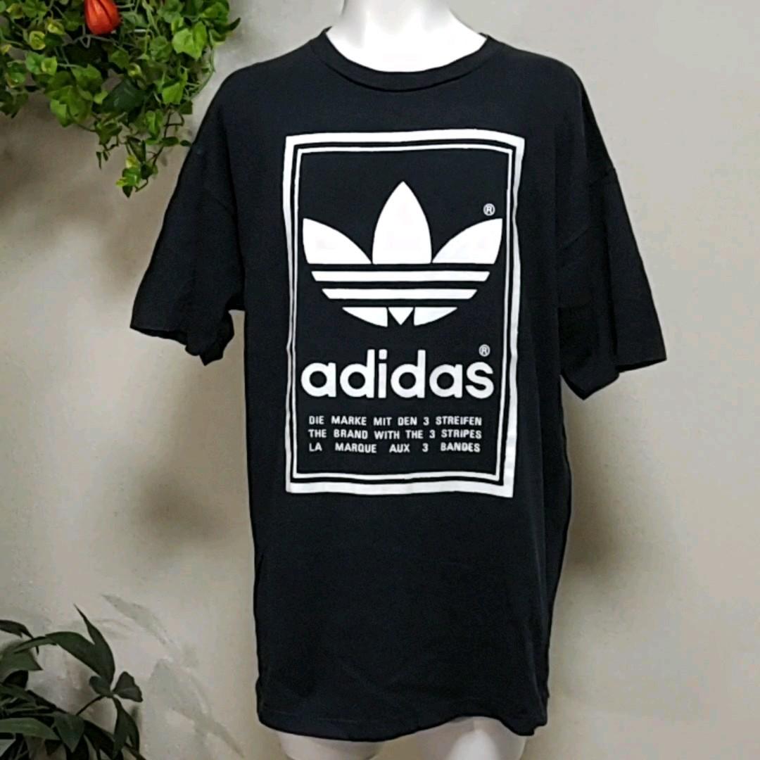 アディダス半袖Tシャツ USA製L/実寸XL-2XL 黒 前後で反転させた三つ葉トレフォイルプリント♪  adidas色落ち感あり