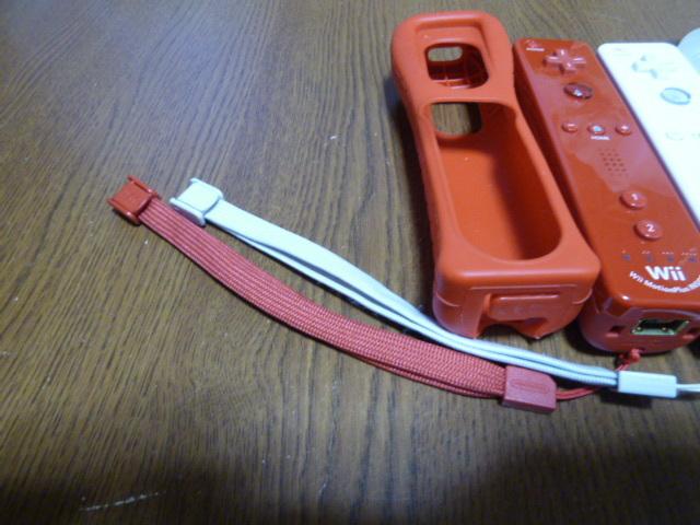 RSJN6【送料無料 動作確認済】Wii リモコン モーションプラス ジャケット ストラップ ヌンチャク レッド赤 ホワイト 純正品 2個セット