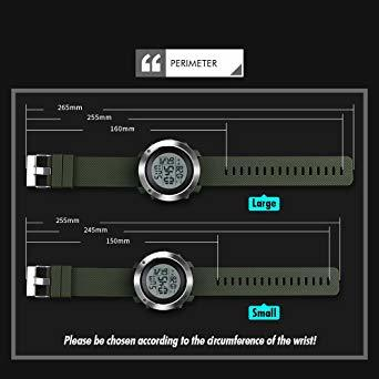 PHCOOVERS デジタル 腕時計 メンズ レディース 男女兼用 ミリタリー ウォッチ アラーム クロノグラフ 多機能 (ブラ_画像7