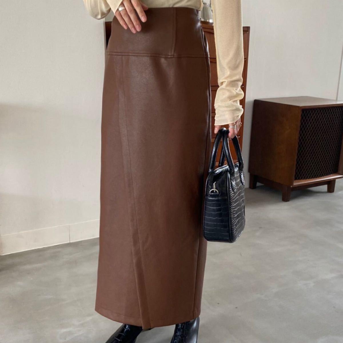 スカート エコレザーセミタイトラップロングスカート/ウエストゴム