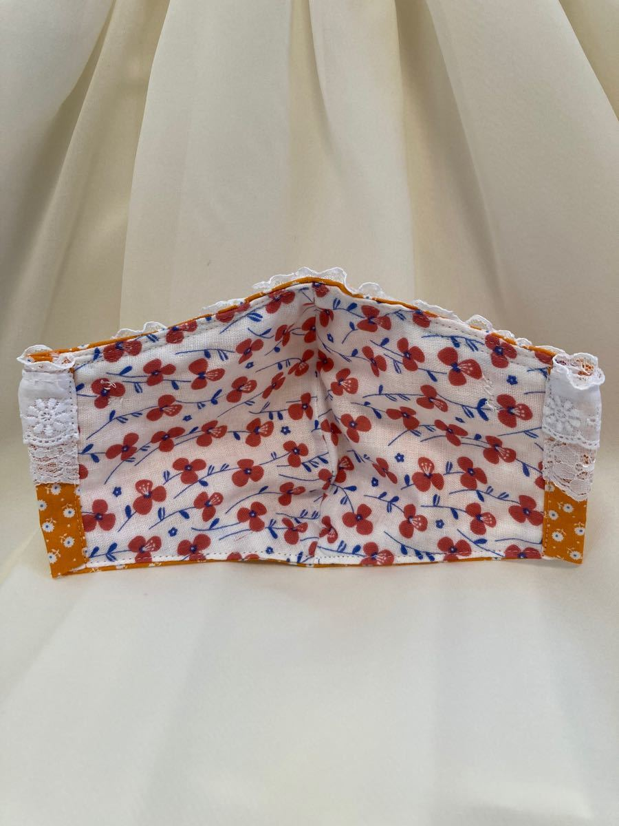 立体インナー 小花柄 オレンジ系 レース チュールリボン ハンドメイド