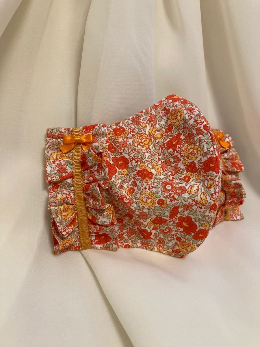立体インナー 花柄 小花柄 薔薇 オレンジ系 フリル リボン ハンドメイド ゴム紐アジャスターつき