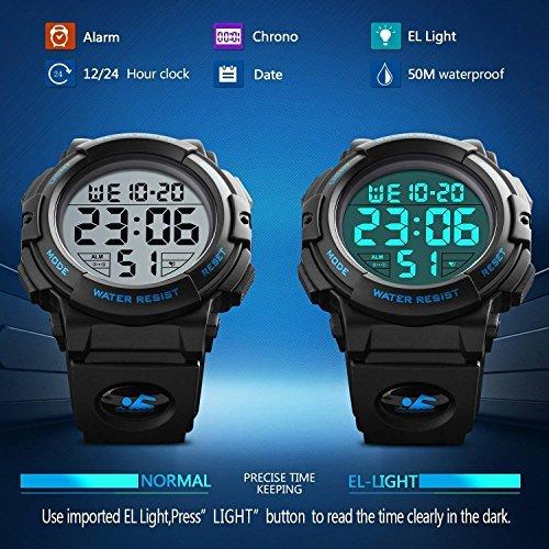 ブルー Timever(タイムエバー)デジタル腕時計 メンズ 防水腕時計 led watch スポーツウォッチ アラーム ストッ_画像6